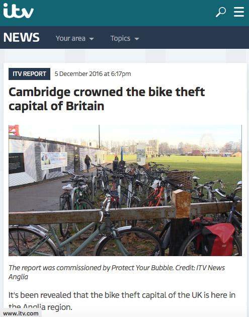 Cambridge crowned the bike-theft capital of Britain.